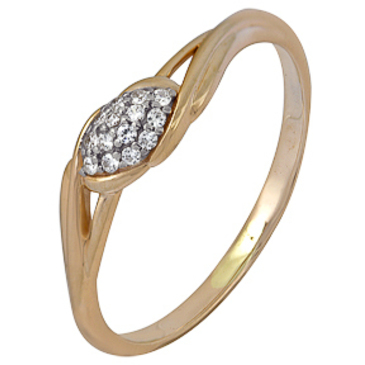 кольцо c фианитами из красного золота 1200202384л