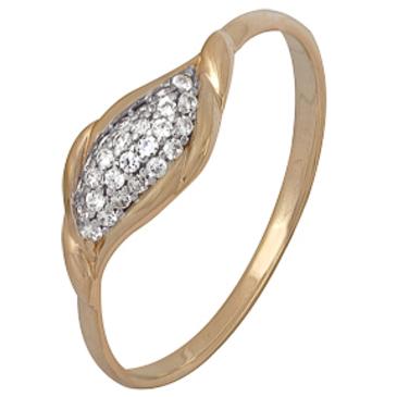кольцо c фианитами из красного золота 1200202387л