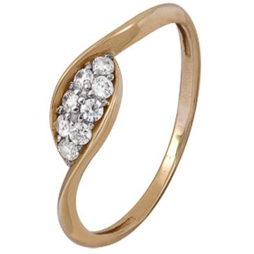 кольцо c фианитами из красного золота 1200202407
