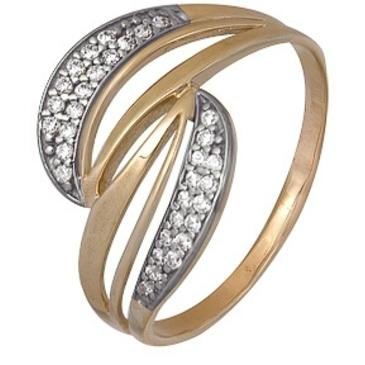 кольцо c фианитами из красного золота 1200202497л