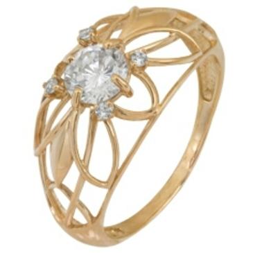 кольцо c фианитами из красного золота 2200001484