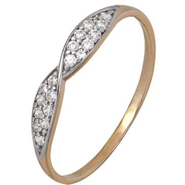 кольцо c фианитами из красного золота 1200202404л