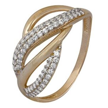 кольцо c фианитами из красного золота 1200202473л