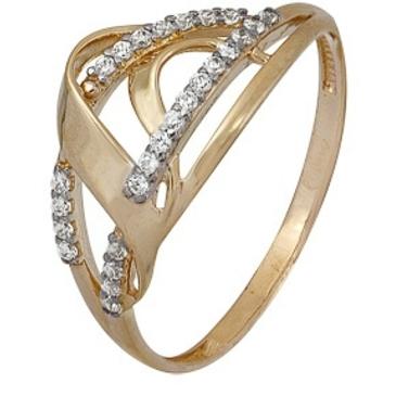 кольцо c фианитами из красного золота 1200202491л