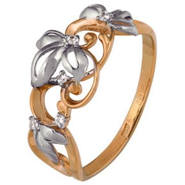 кольцо c фианитами из красного золота 1200202709