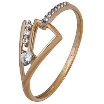 кольцо c фианитами из красного золота 1200202688л