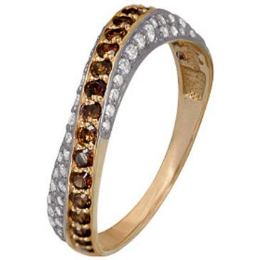 кольцо c фианитами из красного золота 1200202492л-2