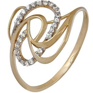 кольцо c фианитами из красного золота 1200202233л
