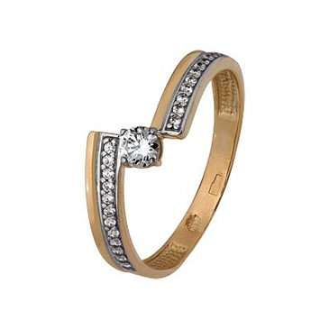 кольцо c фианитами из красного золота 1200202687л от EVORA