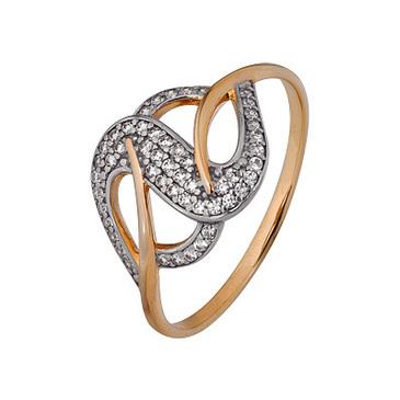 кольцо c фианитами из красного золота 1200202747л
