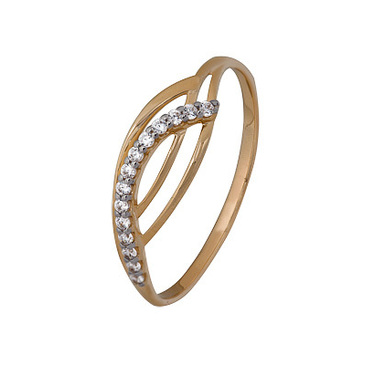кольцо c фианитами из красного золота 1200202805л