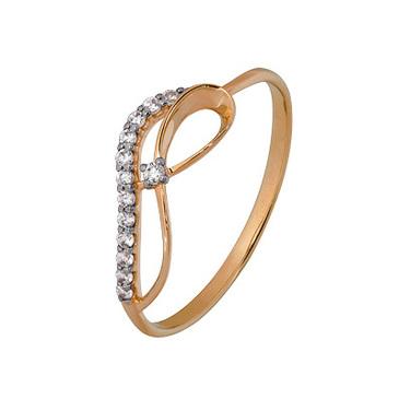 кольцо c фианитами из красного золота 1200202807л
