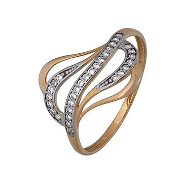 кольцо c фианитами из красного золота 1200202744л