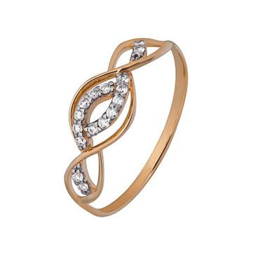 кольцо c фианитами из красного золота 1200202809л
