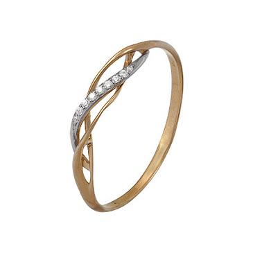 кольцо c фианитами из красного золота 1200202354л