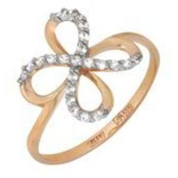 кольцо c фианитами из красного золота 11023280
