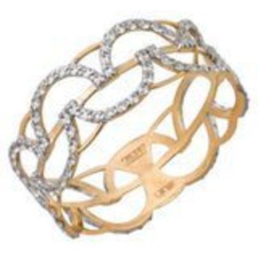 кольцо c фианитами из красного золота 11023307