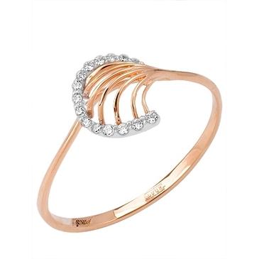 кольцо c фианитами из красного золота 11027221