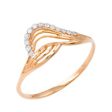 кольцо c фианитами из красного золота 11027222