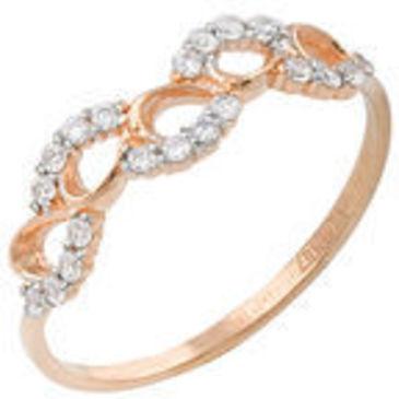 кольцо c фианитами из красного золота 11027257