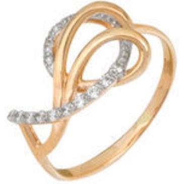 кольцо c фианитами из красного золота 11028019