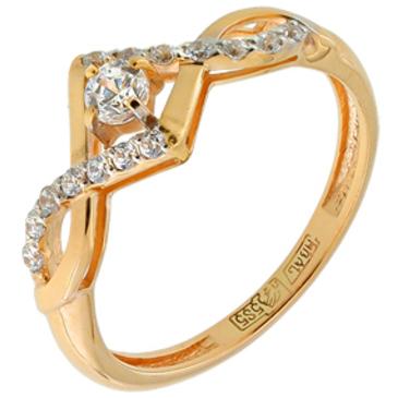 кольцо c фианитами из красного золота 11028089