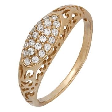 кольцо c фианитами из красного золота 1200001527Л