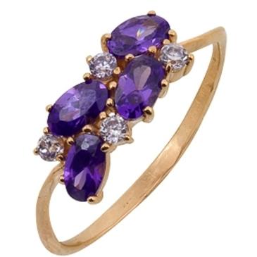 кольцо c фианитами из красного золота 1200001660-2