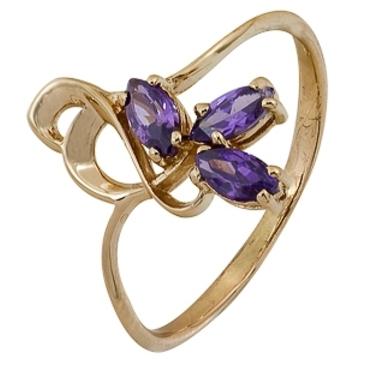 кольцо c фианитами из красного золота 1200001868