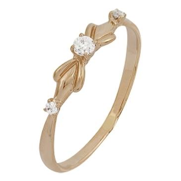 кольцо c фианитами из красного золота 1200001883