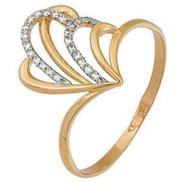 кольцо c фианитами из красного золота 1200201321