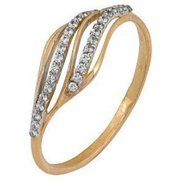кольцо c фианитами из красного золота 1200201437