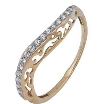 кольцо c фианитами из красного золота 1200201476Л