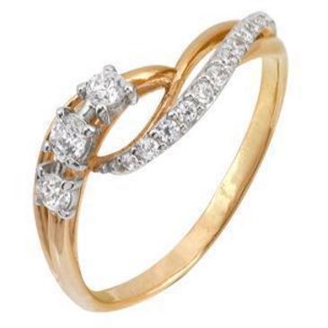 кольцо c фианитами из красного золота 1200201592