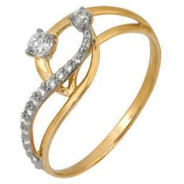 кольцо c фианитами из красного золота 1200201595