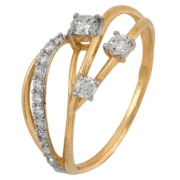 кольцо c фианитами из красного золота 1200201596