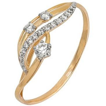 кольцо c фианитами из красного золота 1200201599