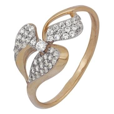 кольцо c фианитами из красного золота 1200201672