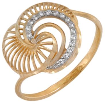 кольцо c фианитами из красного золота 1201101367