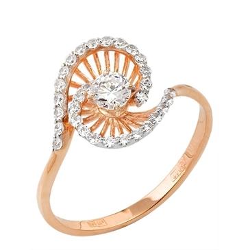 кольцо c фианитами из красного золота 12027236