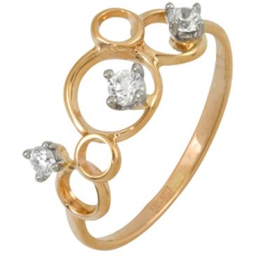кольцо c фианитами из красного золота 12028001