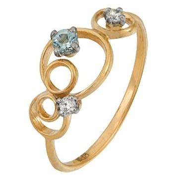 кольцо c фианитами из красного золота 12028002
