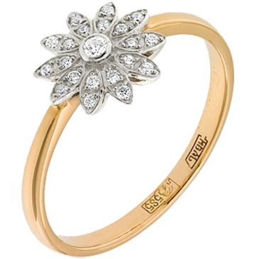 кольцо c фианитами из красного золота 12028123
