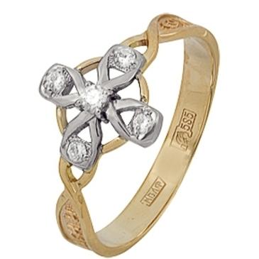кольцо c фианитами из красного золота 12028384