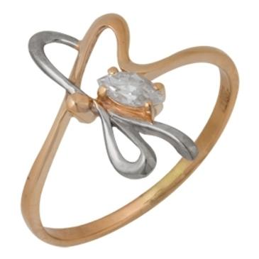 кольцо c фианитом из красного золота 11023275