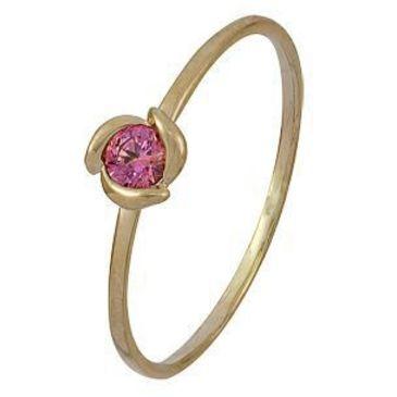 кольцо c фианитом из красного золота 1200001978-1