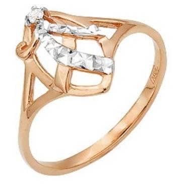 кольцо c фианитом из красного золота 11026183