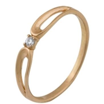 кольцо c фианитом из красного золота 1200001348