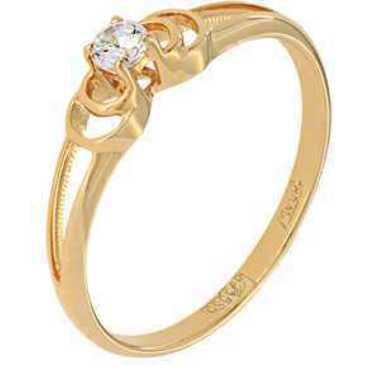 кольцо c фианитом из красного золота 11028087
