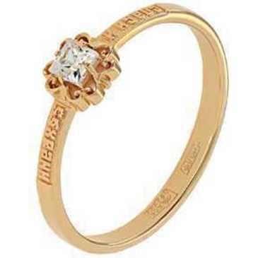 кольцо c фианитом из красного золота 11028199